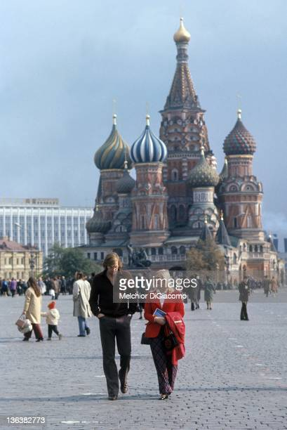 Goalie Ken Dryden of Canada walks with his wife after visiting the Kremlin between games during the 1972 Summit Series in Moscow Russia