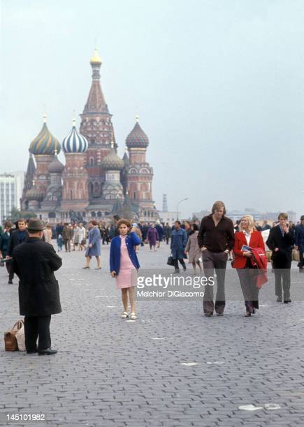 Goalie Ken Dryden of Canada walks with his wife after visiting the Kremlin between games during the 1972 Summit Series in September 1972 in Moscow...
