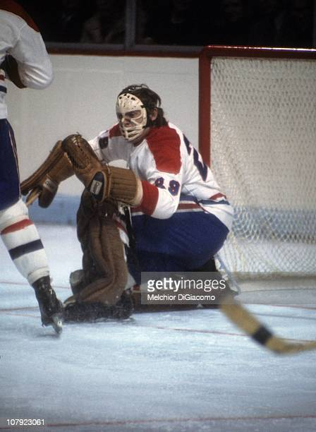 Goalie Ken Dryden of the Montreal Canadiens defends the net during an NHL game circa 1970's at the Montreal Forum in Montreal Quebec Canada