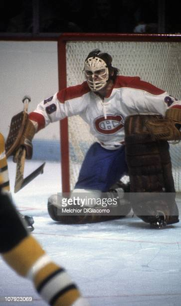 Goalie Ken Dryden of the Montreal Canadiens defends the net during an NHL game against the Boston Bruins circa 1970's at the Montreal Forum in...