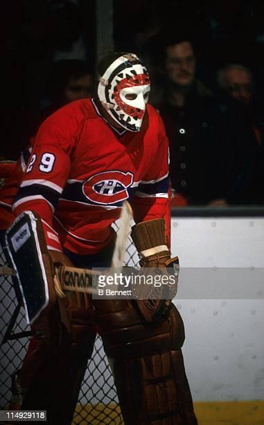Goalie Ken Dryden of the Montreal Canadiens defends the net during an NHL game in March 1979