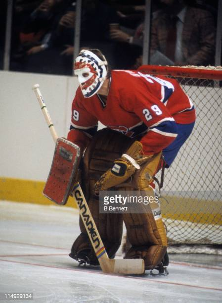Goalie Ken Dryden of the Montreal Canadiens defends the net during an NHL game against the New York Rangers on January 3 1979 at the Madison Square...