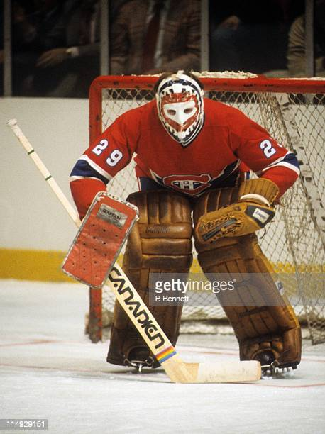 Goalie Ken Dryden of the Montreal Canadiens defends the net during an NHL game circa 1979