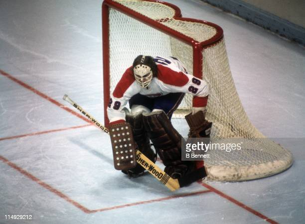 Goalie Ken Dryden of the Montreal Canadiens defends the net during an NHL game circa 1977 at the Montreal Forum in Montreal Quebec Canada