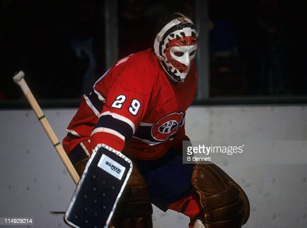 Goalie Ken Dryden of the Montreal Canadiens defends the net during an NHL game in March 1978