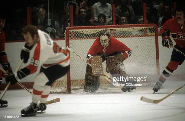 PHILADELPHIA PA 1972 Goalie Ken Dryden of the Montreal Canadiens defends the net during an NHL game against the Philadelphia Flyers circa 1972 at the...