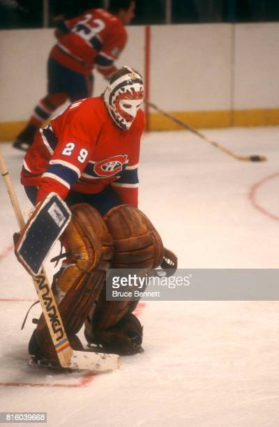 Goalie Ken Dryden of the Montreal Canadiens defends the net during warmups before an NHL game against the New York Rangers on March 25 1979 at...