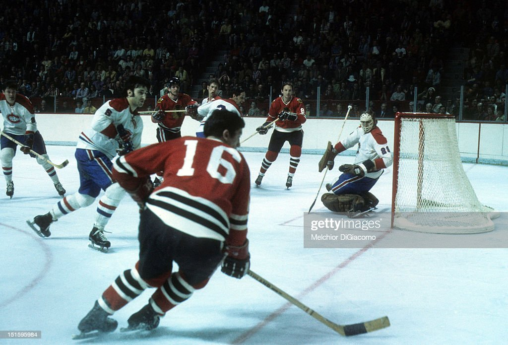 1973 Stanley Cup Finals:  Chicago Blackhawks v Montreal Canadiens : News Photo