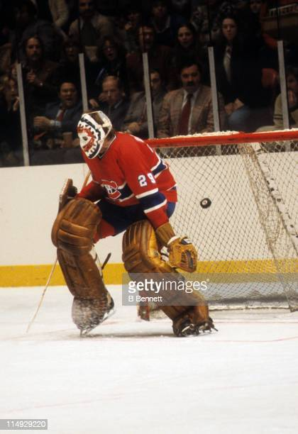 Goalie Ken Dryden of the Montreal Canadiens is scored on during an NHL game against the New York Rangers on January 3 1979 at the Madison Square...