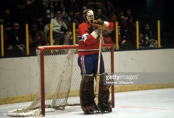 NEW YORK NY DECEMBER 26 Goalie Ken Dryden of the Montreal Canadiens looks on during an NHL game against the New York Rangers on December 26 1971 at...
