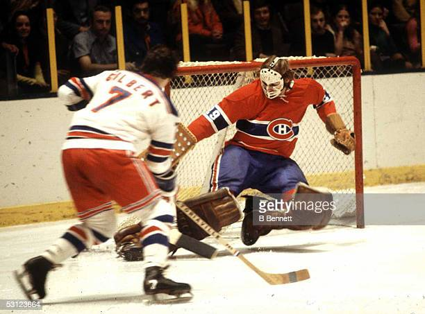 Goalie Ken Dryden of the Montreal Canadiens makes the kick save on Rod Gilbert of the New York Rangers circa 1970's at Madison Square Garden in New...