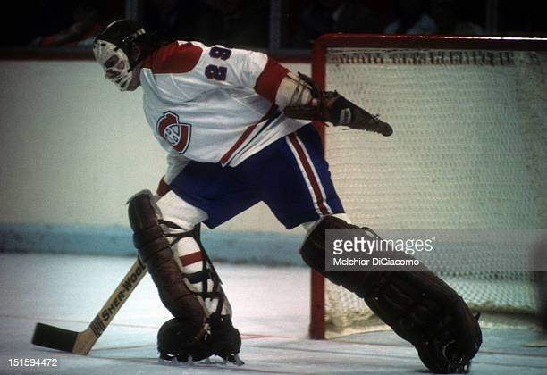 1974 Goalie Ken Dryden of the Montreal Canadiens skates on the ice during an NHL game circa 1974 at the Montreal Forum in Montreal Quebec Canada