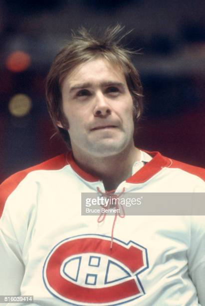 Goalie Ken Dryden of the Montreal Canadiens skates on the ice during warmups before an NHL game circa 1976 at the Montreal Forum in Montreal Quebec...