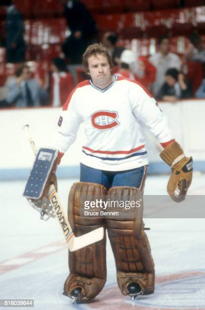 Goalie Ken Dryden of the Montreal Canadiens skates on the ice during warmups before a 1979 Stanley Cup Finals game against the New York Rangers circa...