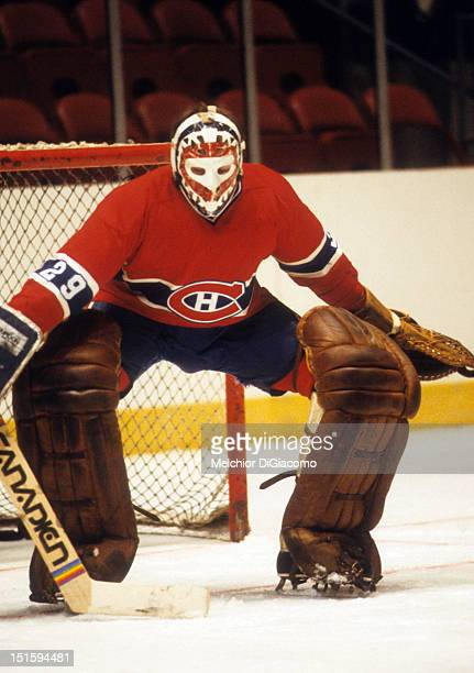 Goalie Ken Dryden of the Montreal Canadiens warms up before a game in the 1979 Stanley Cup Finals against the New York Rangers in May 1979 at the...