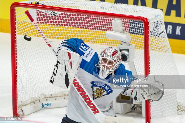 Goalie Kevin Lankinen of Finland makes a save during the 2019 IIHF Ice Hockey World Championship Slovakia final game between Canada and Finland at...