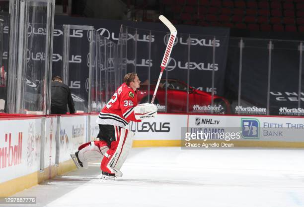Goalie Kevin Lankinen of the Chicago Blackhawks is named the number one star of the game after the Chicago Blackhawks defeated the Detroit Red Wings...