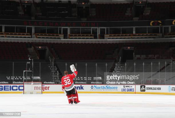 Goalie Kevin Lankinen of the Chicago Blackhawks is named the number one star of the game after the Blackhawks defeated the Columbus Blue Jackets 3-1...
