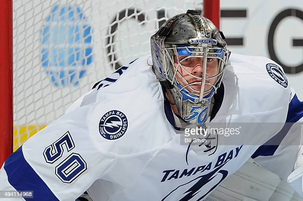 Goalie Kristers Gudlevskis of the Tampa Bay Lightning guards the net in the second period of the NHL game against the Chicago Blackhawks at the...
