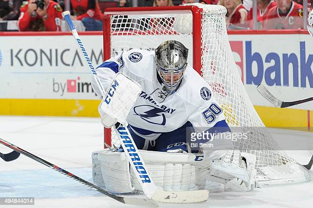 Goalie Kristers Gudlevskis of the Tampa Bay Lightning guards the net in the first period of the NHL game against the Chicago Blackhawks at the United...