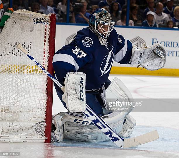 Goalie Kristers Gudlevskis of the Tampa Bay Lightning skates against the Columbus Blue Jackets at the Tampa Bay Times Forum on April 11 2014 in Tampa...