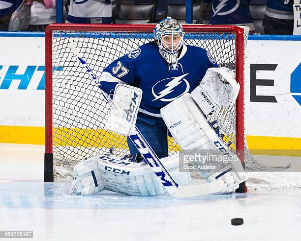 Goalie Kristers Gudlevskis of the Tampa Bay Lightning skates during the pre game warm up prior to the game against the Columbus Blue Jackets at the...