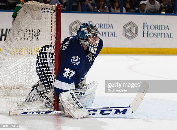 Goalie Kristers Gudlevskis the Tampa Bay Lightning skates against the Columbus Blue Jackets at the Tampa Bay Times Forum on April 11 2014 in Tampa...
