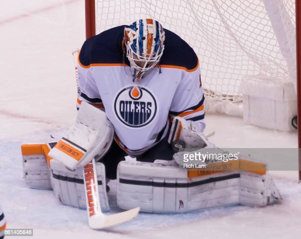 Goalie Laurent Brossoit of the Edmonton Oilers makes a save in NHL action against the Vancouver Canucks on October 7 2017 at Rogers Arena in...