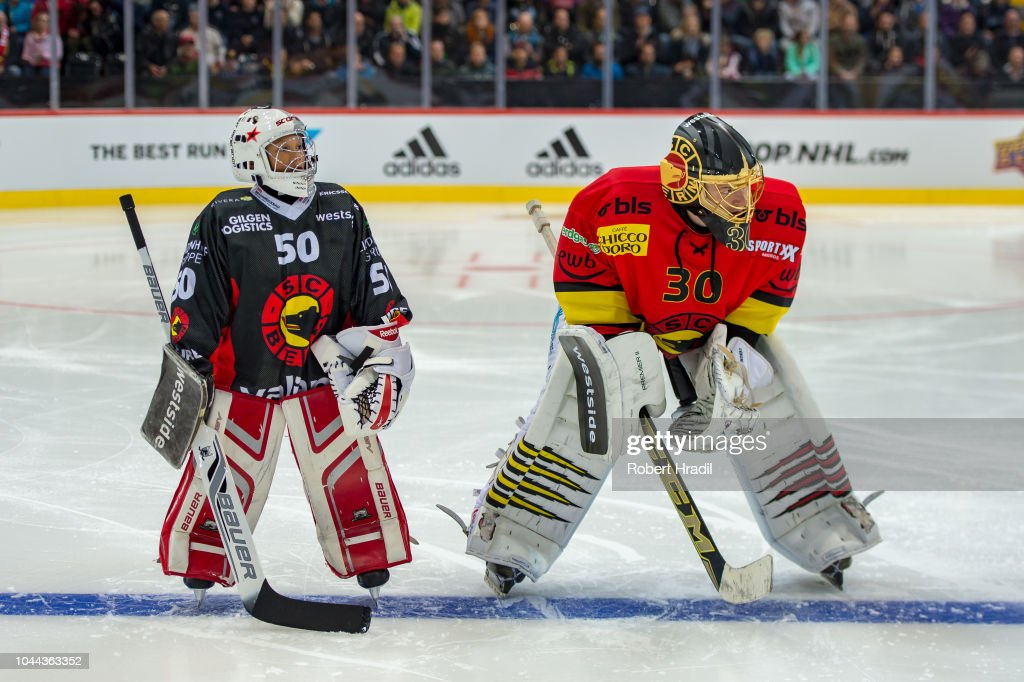 cheap for discount b643a 35c3c Goalie Leonardo Genoni of SC Bern lines up with the young ...