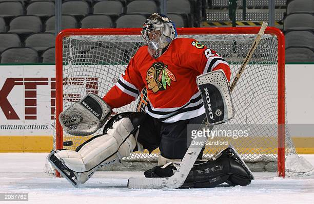 A goalie looks to make a glove save during the NHL Concept Shoot on February 22 2003 at the American Airlines Center in Dallas Texas
