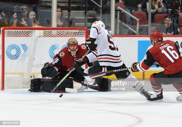 Goalie Louis Domingue of the Arizona Coyotes positions himself for a save as Tommy Wingels of the Chicago Blackhawks skates in with the puck and Max...