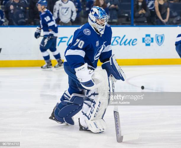 Goalie Louis Domingue of the Tampa Bay Lightning gets ready for the game against the Vegas Golden Knights at Amalie Arena on January 18 2018 in Tampa...
