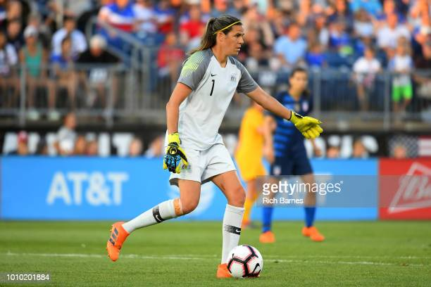 Goalie Lydia Williams of Australia controls the ball against the Untied States during the first half of a Tournament of Nations game played at Pratt...