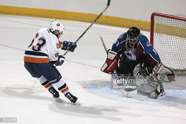 A goalie makes a glove save as the shooter skates in close during the NHL Concept Shoot on February 22 2003 at the American Airlines Center in Dallas...