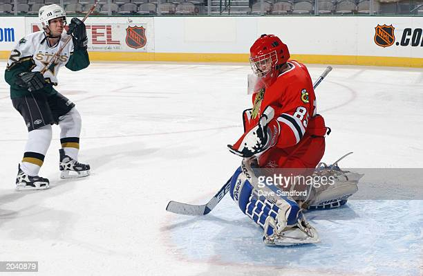 A goalie makes a glove save during the NHL Concept Shoot on February 22 2003 at the American Airlines Center in Dallas Texas