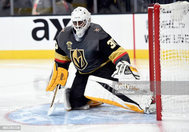Goalie Malcolm Subban of the Vegas Golden Knights looks on against the St Louis Blues at TMobile Arena on October 21 2017 in Las Vegas Nevada The...