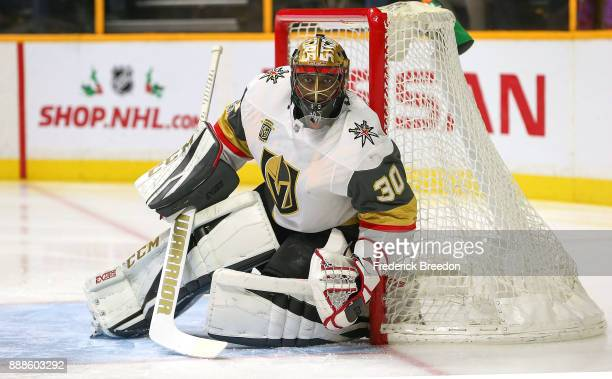 Goalie Malcolm Subban of the Las Vegas Golden Knights plays against the Nashville Predators during the first period at Bridgestone Arena on December...