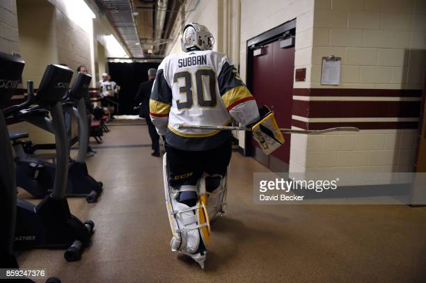Goalie Malcolm Subban of the Vegas Golden Knights walks from the locker room before the team's match against the Arizona Coyotes at Gila River Arena...
