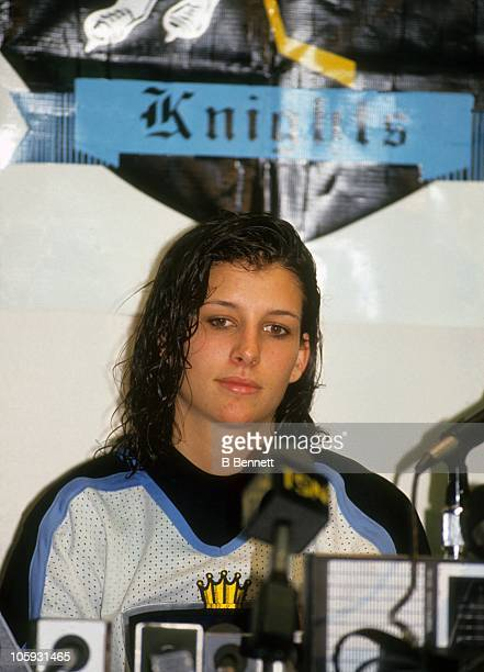 Goalie Manon Rheaume of the Atlanta Knights of the International Hockey League speaks at a press conference during the 1993 season at the Omni...