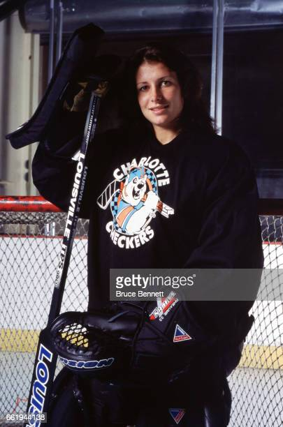 Goalie Manon Rheaume of the Charlotte Checkers poses for a portrait prior to an ECHL game circa October 1995