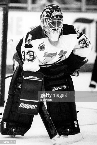 Goalie Manon Rheaume of the Tampa Bay Lightning defends the net during an NHL preseason game against the St Louis Blues on September 23 1992 at the...
