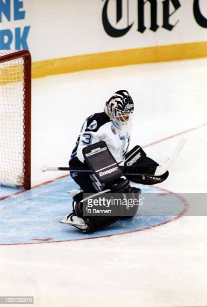 Goalie Manon Rheaume of the Tampa Bay Lightning makes the save during an NHL preseason game against the St Louis Blues on September 23 1992 at the...