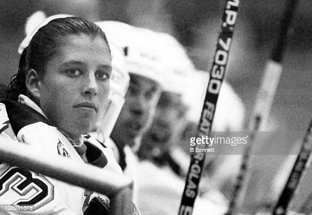 Goalie Manon Rheaume of the Tampa Bay Lightning sits on the bench during an NHL preseason game against the St Louis Blues on September 23 1992 at the...