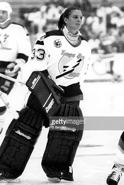 Goalie Manon Rheaume of the Tampa Bay Lightning skates on the ice before an NHL preseason game against the St Louis Blues on September 23 1992 at the...
