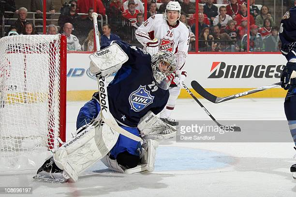 Goalie MarcAndre Fleury of the Pittsburgh Penguins for team Lidstrom tends goal during the 58th NHL AllStar Game at the RBC Center on January 30 2011...