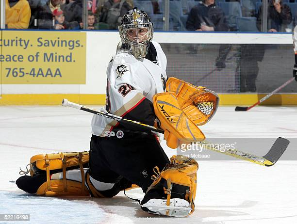 Goalie Marc-Andre Fleury of the Wilkes-Barre/Scranton Penguins practices during warmups before the game against the Bridgeport Sound Tigers on...