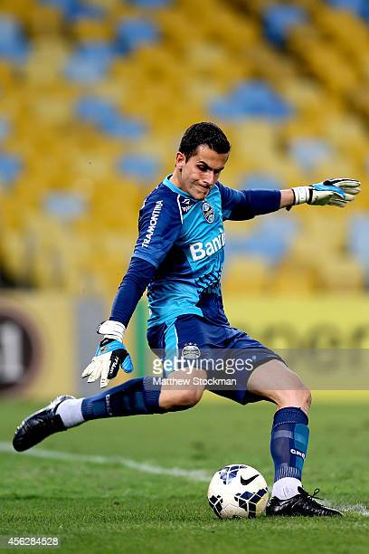 Goalie Marcelo Grohe of Gremio clears out the ball against Botafago during a match between Botafogo and Gremio as part of Brasileirao Series A 2014...