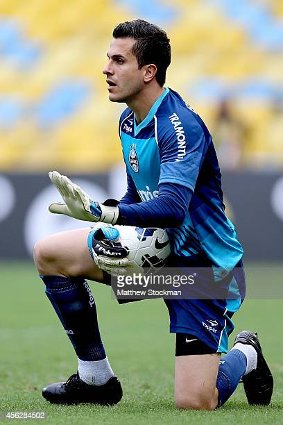Goalie Marcelo Grohe of Gremio saves a shot on goal by Botafago during a match between Botafogo and Gremio as part of Brasileirao Series A 2014 at...