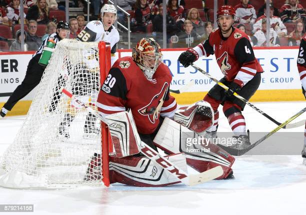 Goalie Marek Langhamer of the Arizona Coyotes makes a save against the Vegas Golden Knights during the third period at Gila River Arena on November...