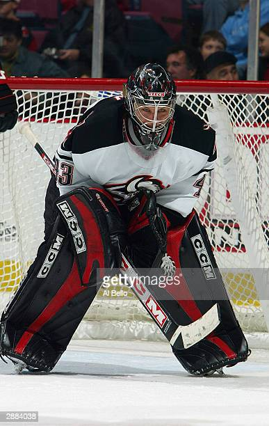 Goalie Martin Biron of the Buffalo Sabres protects the net from the New Jersey Devils at the Continental Airlines Arena on November 19 2003 in East...